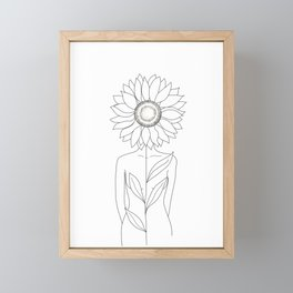 Minimalistic Line Art of Woman with Sunflower Framed Mini Art Print