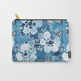 DANK DUDETTE Indigo Hibiscus Watercolor Carry-All Pouch