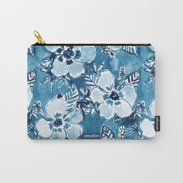 DANK DUDETTE Indigo Hibiscus Watercolor Carry-All Pouch