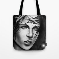 aaliyah Tote Bags featuring Akasha by Chiyo Tattoo