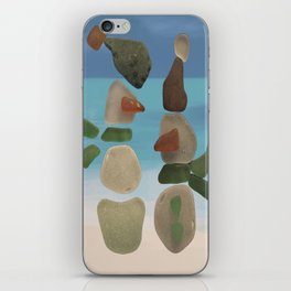 Finding Unexpected Sea Glass at the Beach #snowman #seaglass iPhone Skin