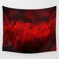 duvet cover Wall Tapestries featuring Red Duvet Cover by Corbin Henry