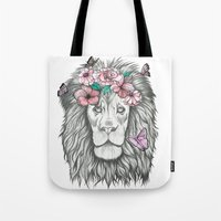 the lion king Tote Bags featuring Lion King by Sorasoraya