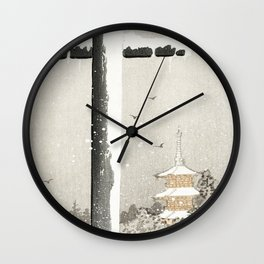 Ohara Koson, Crow Sitting On The Torii - Vintage Japanese Woodblock Print Wall Clock