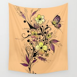 Flower Tattoo in Yellow and Purple Wall Tapestry