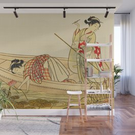 Women Gathering Lotus Blossoms Wall Mural