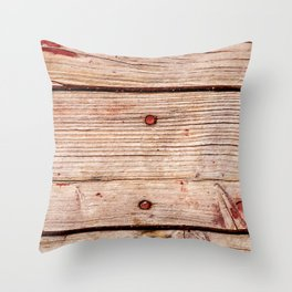 Used Rough Wooden Planks Throw Pillow