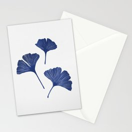 Blue Ginkgo Biloba Pattern Stationery Cards