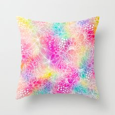 Bright neon pink turquoise purple yellow watercolor white floral illustration pattern Throw Pillow