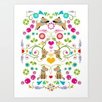 colorfull dogs & cats white Art Print