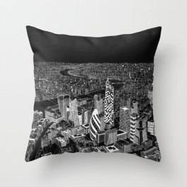 London in BW Throw Pillow
