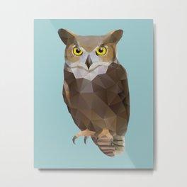 Great Horned Owl Polygon Art Metal Print