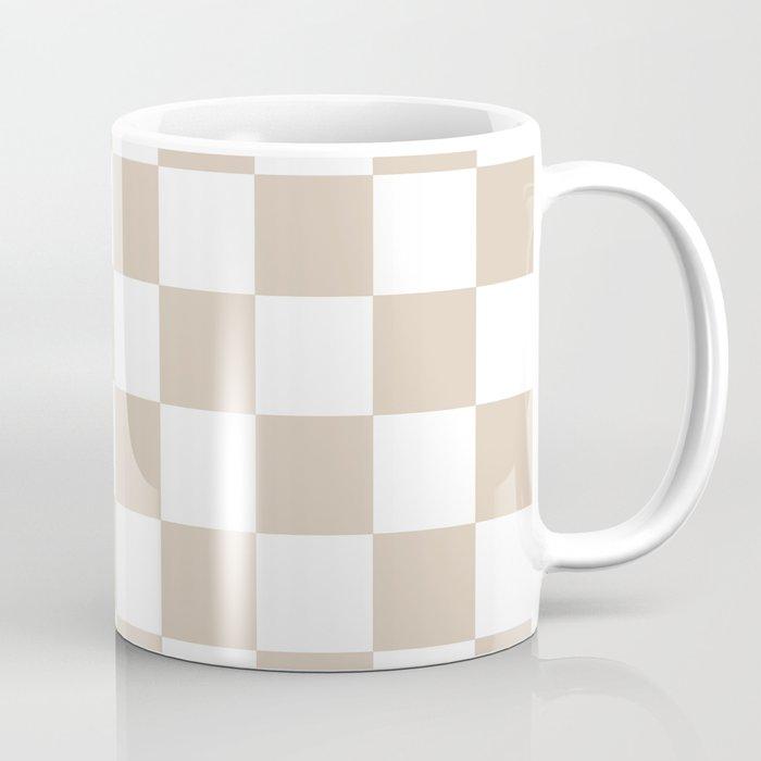 Brown, Beige: Checkered Pattern Coffee Mug