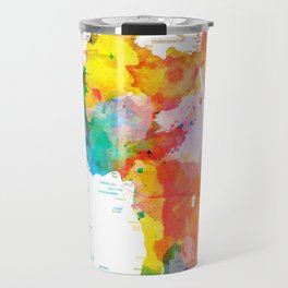 world map political watercolor 2 Travel Mug