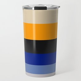 Complementary Blue & Yellow Colorful Geometric Pattern Colour Block Stripes Travel Mug