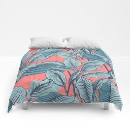 Pink Exotic Tropical Banana Palm Leaf Print Comforters