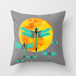 GREEN DRAGONFLIES FLYING TO MOON Throw Pillow