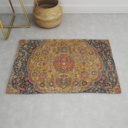 Persian Medallion Rug VI // 16th Century Distressed Red Green Blue Flowery Colorful Ornate Pattern Rug