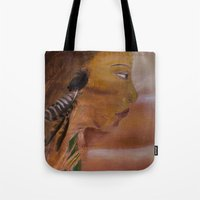 indian Tote Bags featuring Indian by Kathleen Schulze