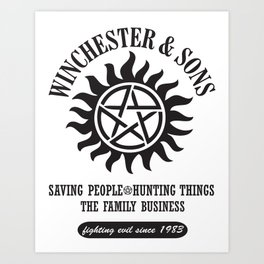 SUPERNATURAL WINCHESTER AND SONS Art Print