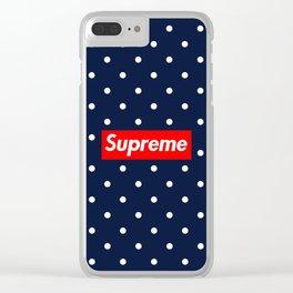supreme blue Clear iPhone Case