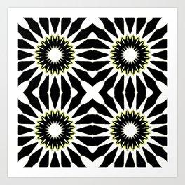 Black White Yellow Pinwheel Flowers Art Print