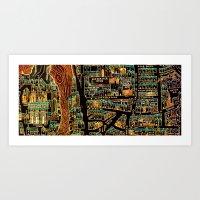 paris map Art Prints featuring Paris Map by Larsson Stevensem