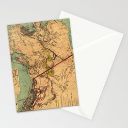 Vintage Map of Gold and Coal in Alaska (1898) Stationery Cards