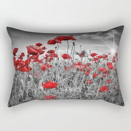 Idyllic Field of Poppies with Sun Rectangular Pillow