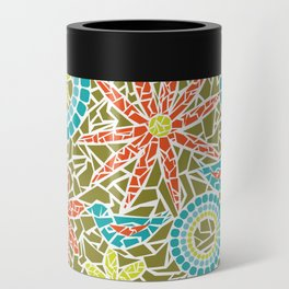 Birds and Flowers Mosaic - Green, orange, yellow Can Cooler