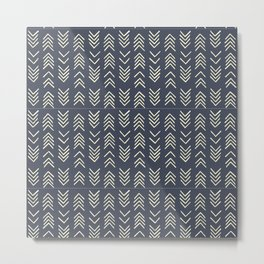 Mud cloth | Navy and White Arrows Metal Print