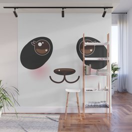 Kawaii funny panda white muzzle with pink cheeks and big black eyes  on white background Wall Mural