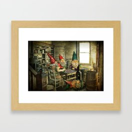 Garden Gnomes Playing Checkers Framed Art Print
