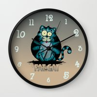 fat Wall Clocks featuring Fat Cat by mangulica illustrations