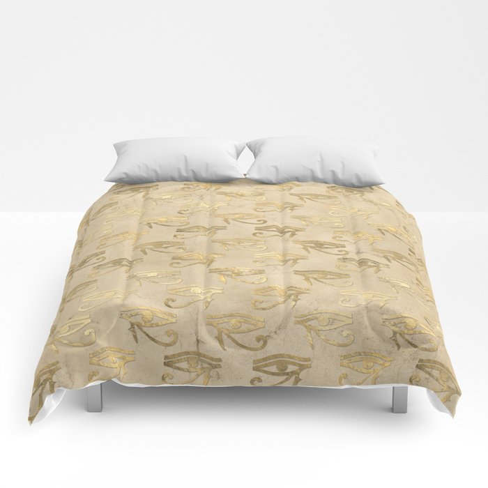 Gold Egypt Eye Of Horus Pattern Comforters