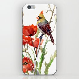 Cardinal And Poppy Flowers iPhone Skin