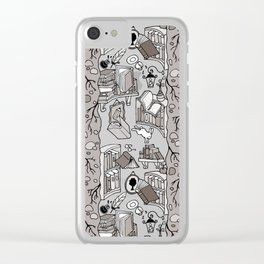 Books: Through the rabbit hole_Warm Gray Clear iPhone Case