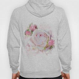 Pink Watercolor Rose Hoody