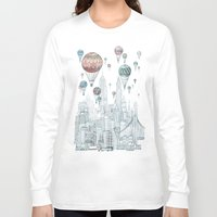david Long Sleeve T-shirts featuring Voyages Over New York by David Fleck