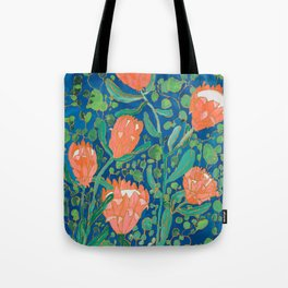 Coral Proteas on Blue Pattern Painting Tote Bag