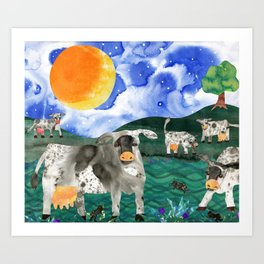 Cow Meadow Art Print