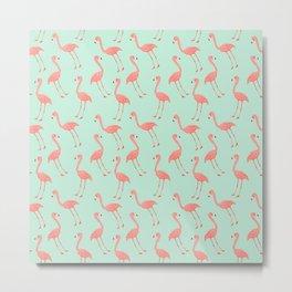Pink Flamingo Pattern Metal Print