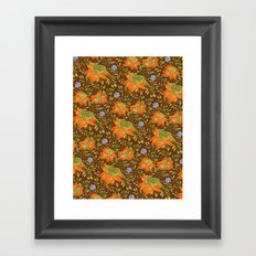 Green bird pattern Framed Art Print