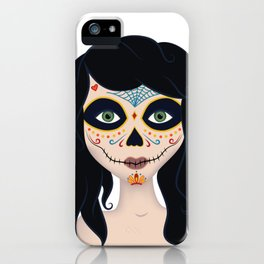 Day of the Dead Girl Illustration iPhone Case
