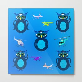 PATTERN BLUE OWLS WITH AIRPLANES Metal Print