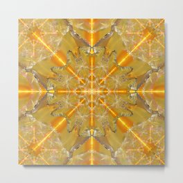 Gold Opal Star Mandala Metal Print