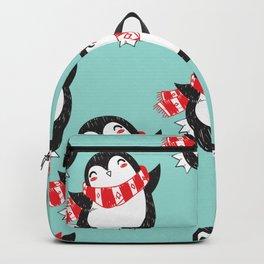 Christmas Penguin Background Backpack