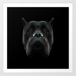 Cane Corso dog low poly. Art Print