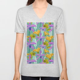 Bold AND Bright Tropical Colored Purple Orchids and Yellow Lilies Unisex V-Neck