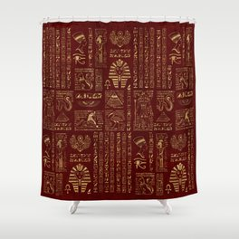 Egyptian hieroglyphs and symbols gold on red leather Shower Curtain